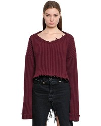 Cropped wool cashmere rib knit sweater medium 3764003