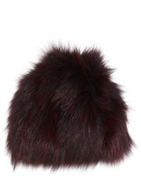 Knit fox fur beanie hat merlot medium 780050