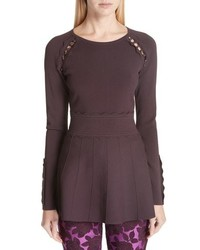 Lela Rose Button Detail Peplum Top
