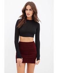 Burgundy Knit Mini Skirt