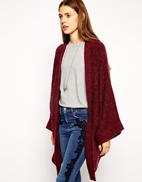 Asos Cardigan With Kimono Sleeve Burgundy | Where to buy & how to wear