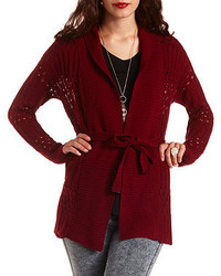 77bc16cb37 Charlotte Russe Solid Sleeve Pointelle Cascade Cardigan Sweater Out of  stock · Charlotte Russe Belted Open Stitch Cardigan