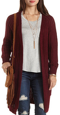 Charlotte Russe Cable Ribbed Duster Cardigan | Where to buy & how ...