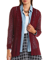 7dc3e3676f Women s Burgundy Knit Open Cardigans by Charlotte Russe