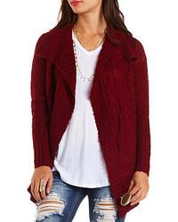 Charlotte Russe Mixed Stitch Cascade Cardigan Sweater