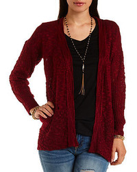 River Island Dark Red Chunky Zig Zag Knit Cardigan | Where to buy ...