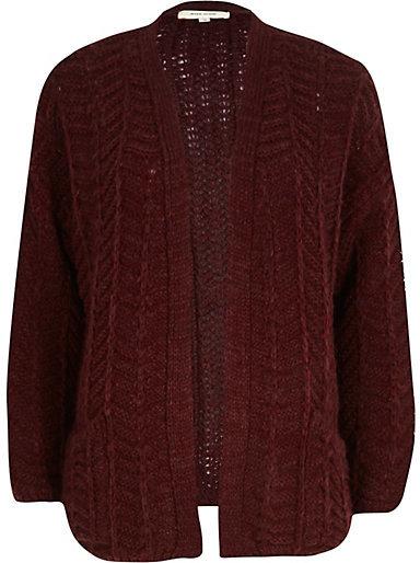 River Island Dark Red Chunky Zig Zag Knit Cardigan | Where to buy ...