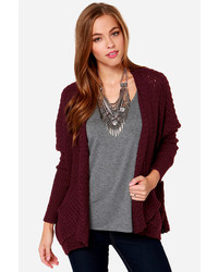 Just chillin burgundy knit cardigan sweater medium 116369