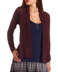 13648525339 ... Charlotte Russe Solid Sleeve Pointelle Cascade Cardigan Sweater