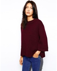 Burgundy Knit Oversized Sweater
