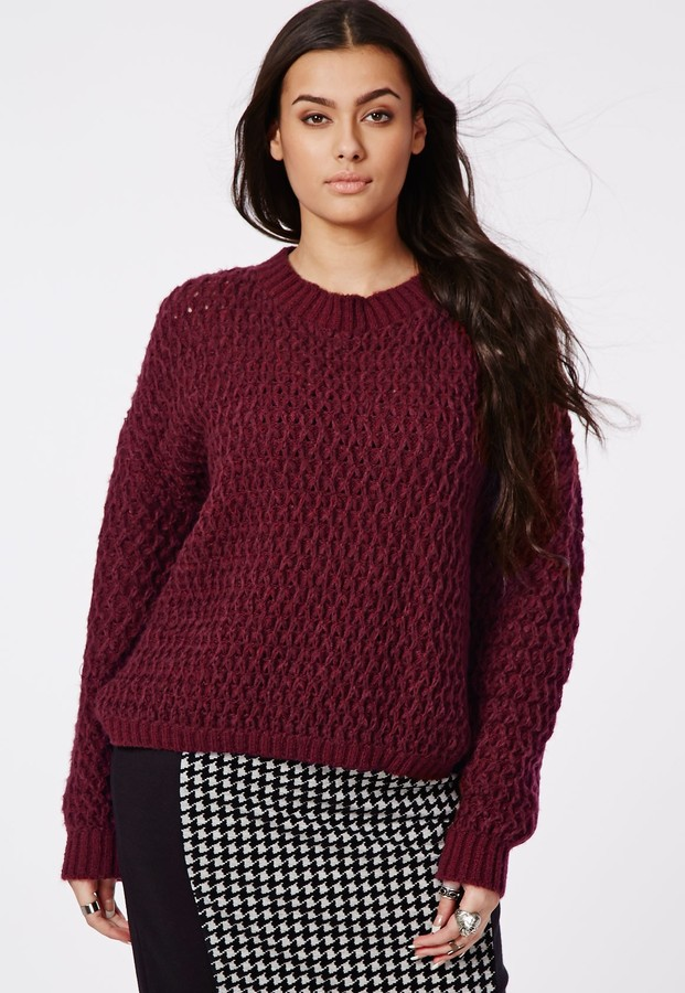 Missguided Plus Size Chunky Knit Sweater Oxblood | Where to buy ...