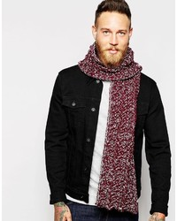 Asos Brand Scarf In Burgundy Chunky Cable