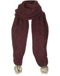 Topshop Burgundy Knitted Cable Scarf With Faux Fur Pom Detail 100% Acrylic