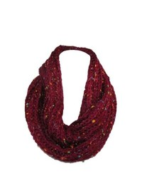 David young rib knit loop scarf with speckles red one size medium 120877