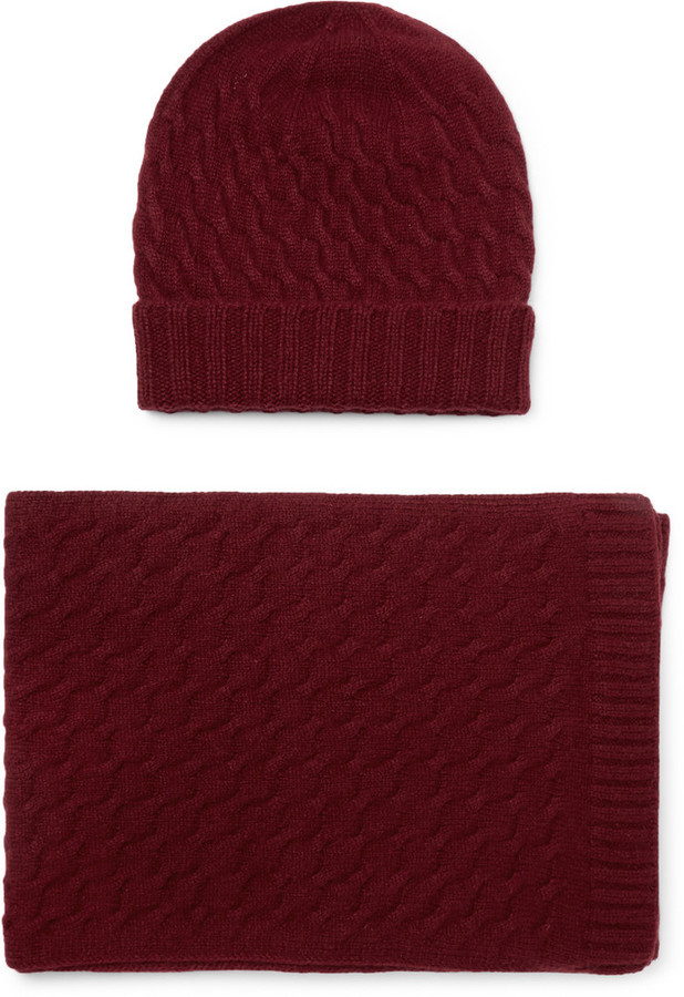 ... William Lockie Cable Knit Cashmere Hat And Scarf Set e8e0e10d89d