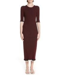 Rosetta Getty Mixed Rib Body Con Dress