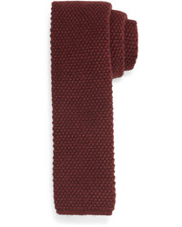 Silk knit flat end tie wine medium 655257