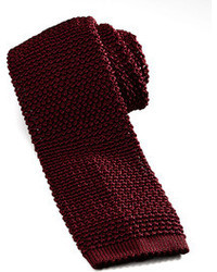 Charvet Knit Silk Tie Dark Red