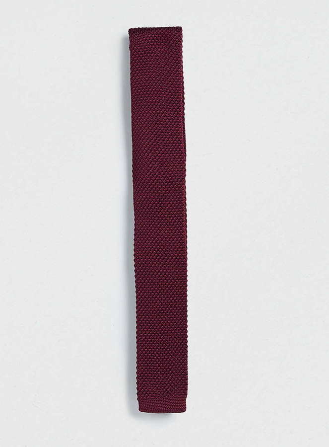 topman burgundy knitted tie where to buy how to wear