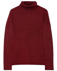 Alice + Olivia Billi Metallic Stretch Knit Turtleneck Sweater Burgundy