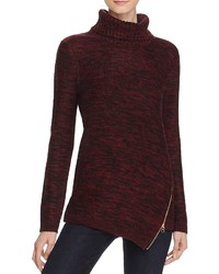 Aqua Asymmetric Zip Turtleneck