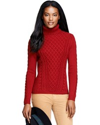 Brooks Brothers Saxxon Wool Cable Turtleneck
