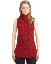 Brooks Brothers Sleeveless Cable Knit Turtleneck