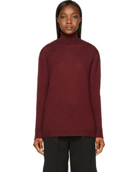 Nina Ricci Burgundy Wool Lace Turtleneck