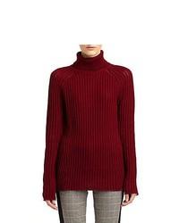 Derek Lam Ribbed Wool Turtleneck Sweater Wine