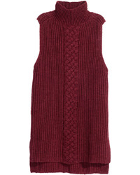 H&M Sleeveless Turtleneck Sweater Burgundy Melange Ladies
