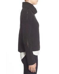 Halogen Turtleneck Sweater With Open Stitch Detail