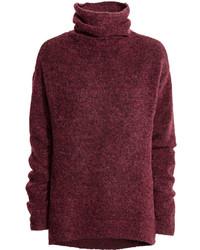 H&M Knit Turtleneck Sweater Burgundy Melange Ladies