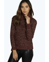 Boohoo Megan Metallic Knit Turtle Neck Jumper