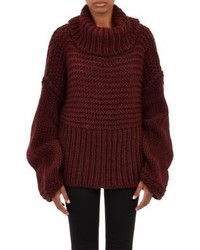 Acne Studios Oversize Split Turtleneck Gaja Sweater Red