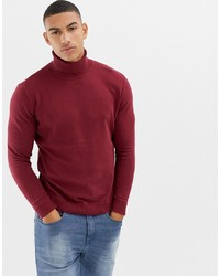 Tom Tailor Roll Neck Knitted Jumper In Red