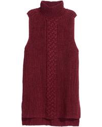 H&M Sleeveless Turtleneck Sweater Burgundy Melange Ladies