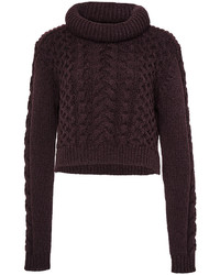 Tibi Burgundy Wool Blend Cable Sweater Pullover