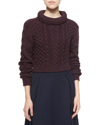 Tibi Cropped Cable Knit Pullover Sweater Burgundy