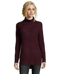 Wyatt Ash Grey Cotton Blend Open Knit Raglan Sleeve Turtleneck Sweater