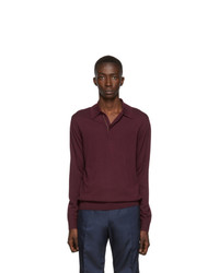 Paul Smith Burgundy Wool Long Sleeve Polo