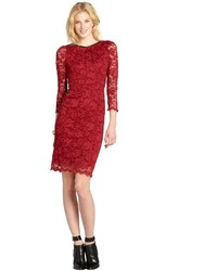 ABS by Allen Schwartz Burgundy Lace Long Sleeve Dress