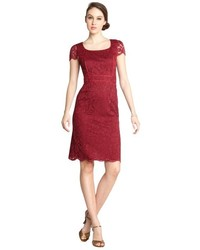 ABS by Allen Schwartz Abs By Allen Schwartz Burgundy Stretch Lace Piping Cap Sleeve Dress