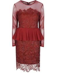 Alice You Burgundy Lace Peplum Dress