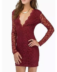 Deep V Neck Long Sleeve Lace Bodycon Dress