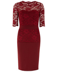 Dorothy Perkins Fever Fish Burgundy Lace Scallop Dress