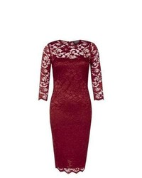 Exclusives New Look Ax Paris Burgundy Sweetheart 34 Sleeve Lace Midi Dress