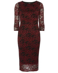 Feverfish Red Lace Bodycon Dress