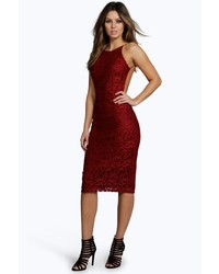 Boohoo Jane Lace Strappy Low Back Bodycon Dress