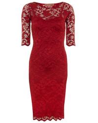 Dorothy Perkins Jolie Moi Burgundy 34 Sleeve Lace Dress