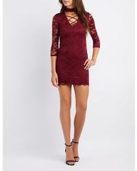 Charlotte Russe Lace Choker Neck Lattice Front Bodycon Dress